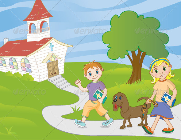 GraphicRiver Children Walking to Church 4728639