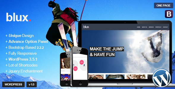 ThemeForest Blux Responsive WordPress OnePage Theme 4728784