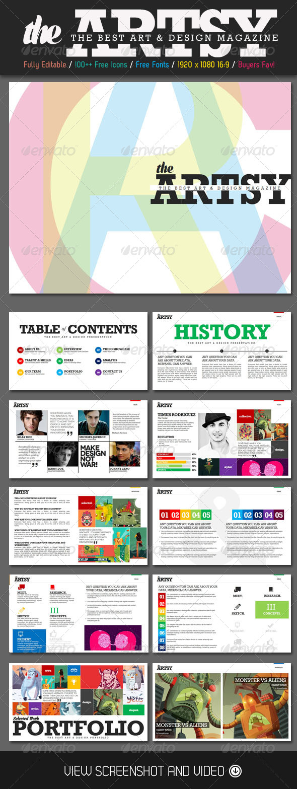 GraphicRiver Artsy Magazine PowerPoint Template 4729028
