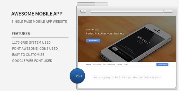 ThemeForest Awesome Mobile App Single Page PSD Template 4721535