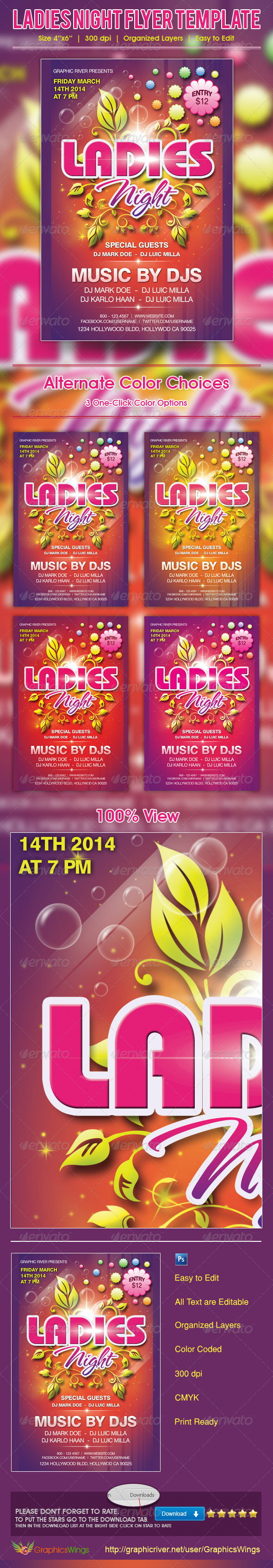 GraphicRiver Ladies Night Flyer Template 4729417