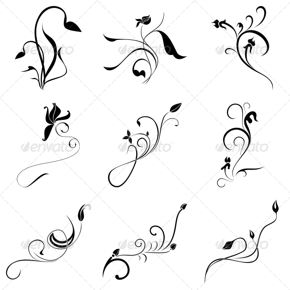 GraphicRiver Curly Flowers Designs Vector Pack 4730197