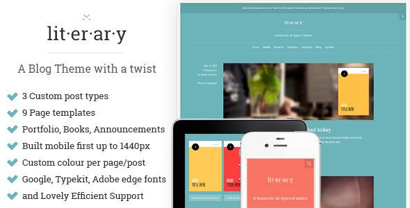 ThemeForest Literary A WordPress Blog Theme with a twist 4713129