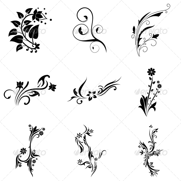 GraphicRiver Abstract Tribal Decorative Flowers Vector Pack 4730334