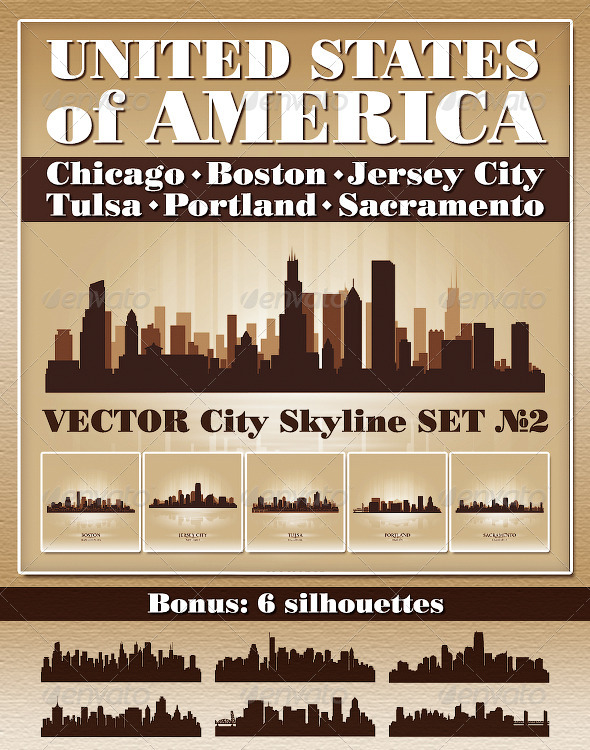 GraphicRiver Vector City Skyline USA Set Number 2 4730383