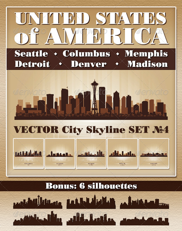 GraphicRiver Vector City Skyline USA Set Number 4 4730389