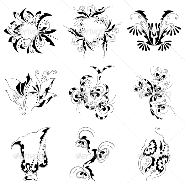 Decorative Floral Elements Vector Pack