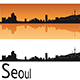 Seoul Skyline in Orange Background - GraphicRiver Item for Sale