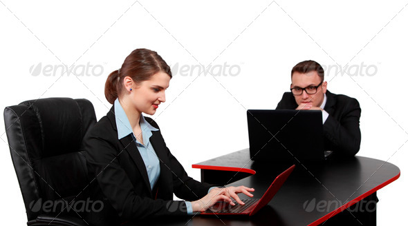 Young Couple on Latops - Stock Photo - Images