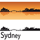 Sydney Skyline in Orange Background - GraphicRiver Item for Sale