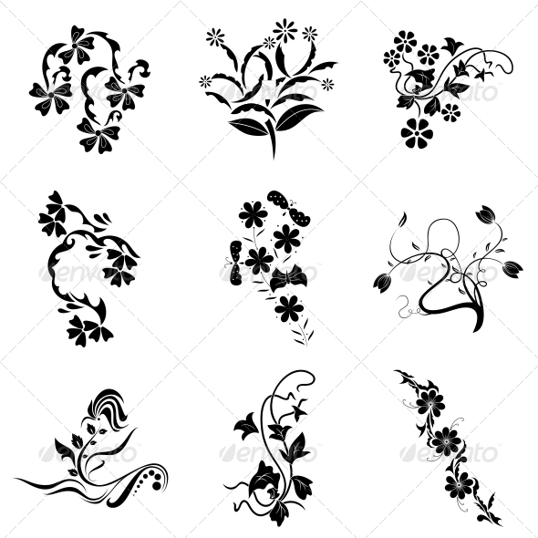 GraphicRiver Decorative Floral Elements Vector Pack 4730941
