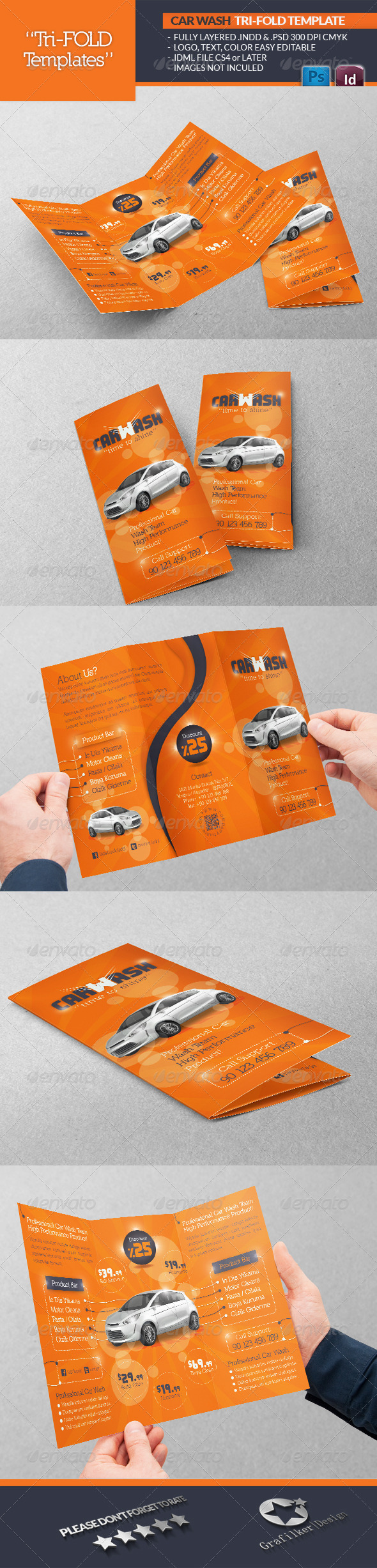 GraphicRiver Car Wash Tri-Fold Template 4651565