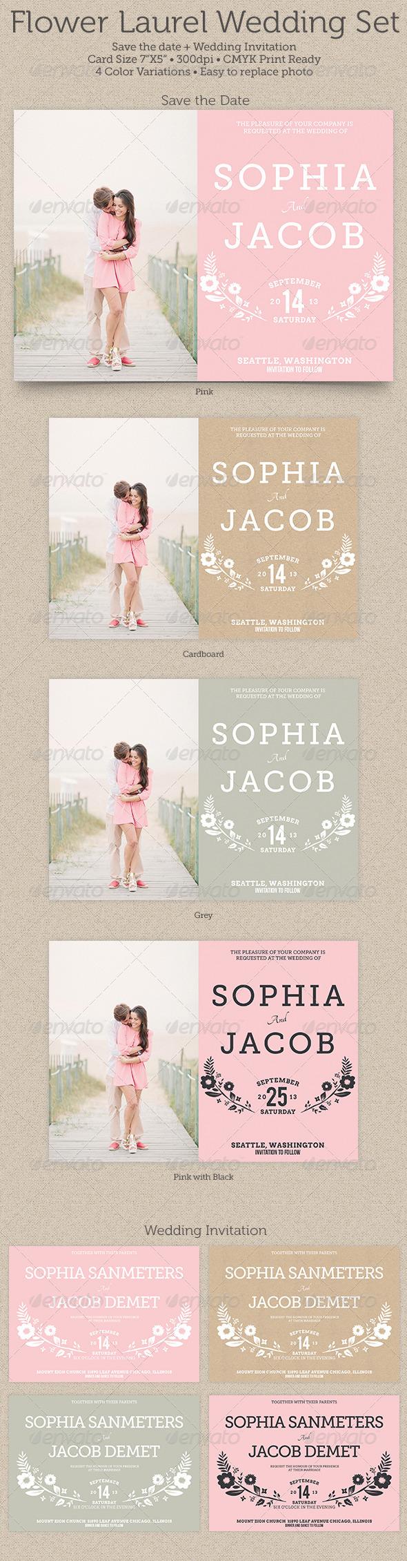 GraphicRiver Flower Laurel Wedding Set 4731538