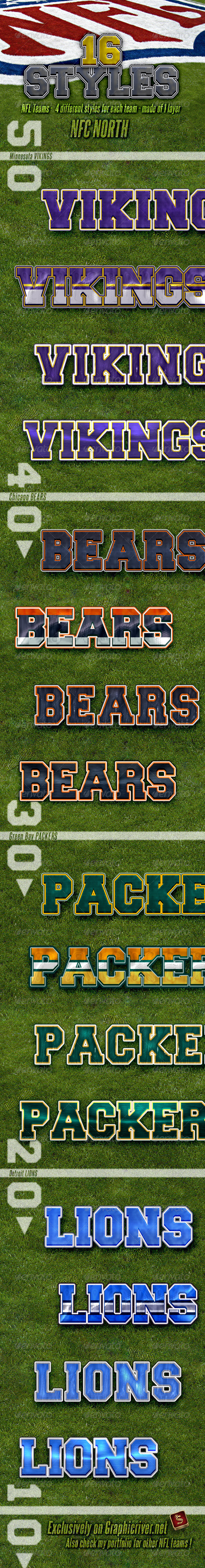NFL Football Styles - NFC North - Styles Photoshop