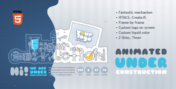 Under Construction Machine Animated HTML5 Template