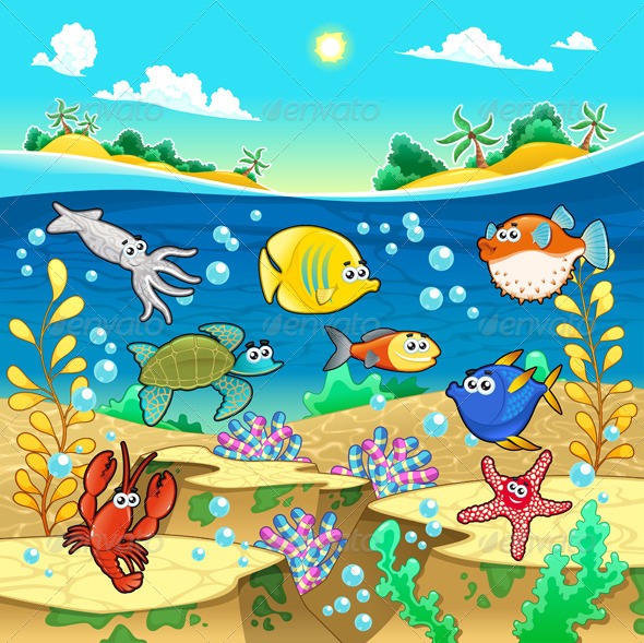 GraphicRiver Family of Fish in the Sea 4732035
