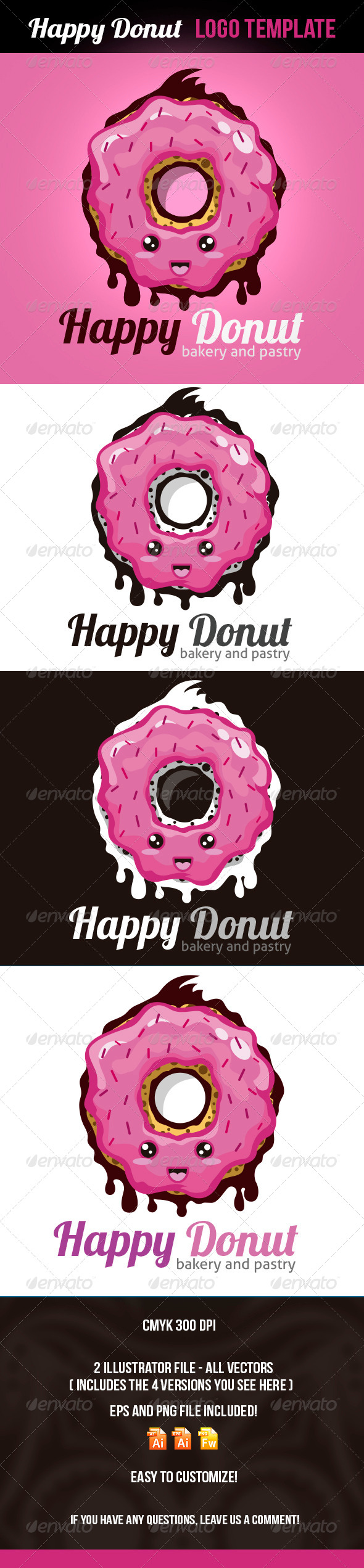 Happy Donut Logo Template - Food Logo Templates