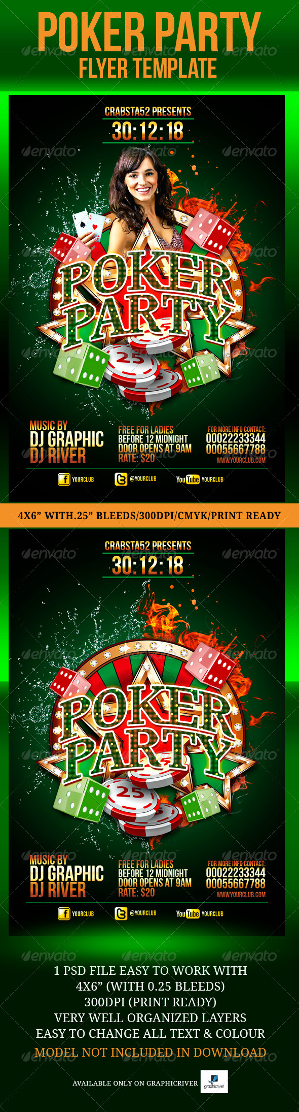 Poker Party Flyer Template