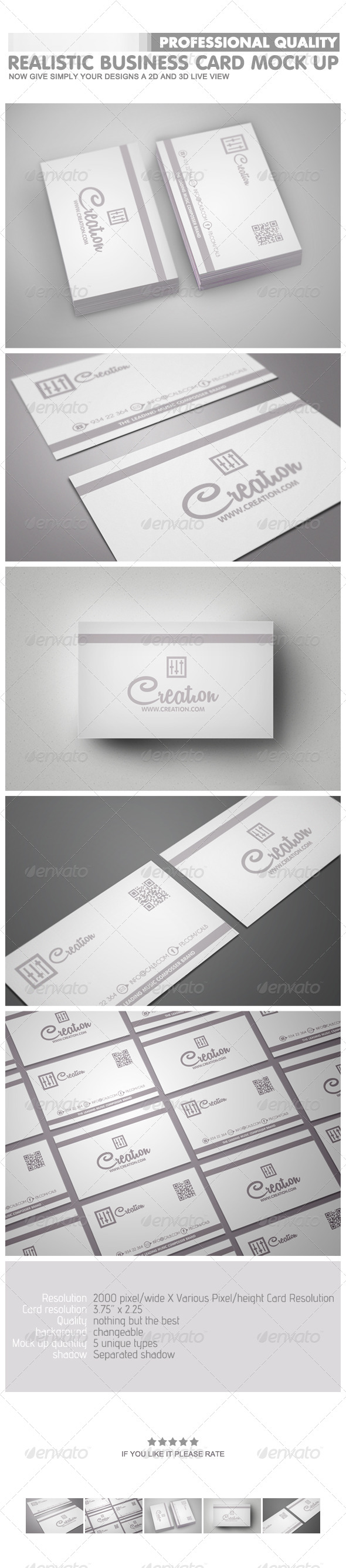 GraphicRiver Realistic Business Card Mock-Ups 4732291