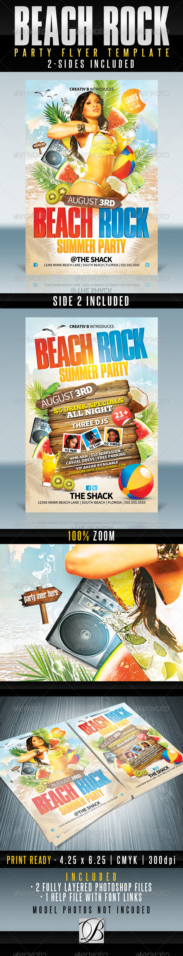 GraphicRiver Beach Rock Party Flyer Templates 4628033