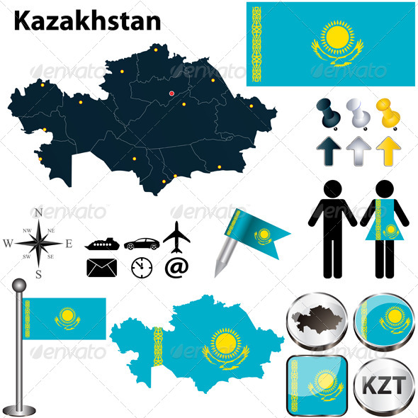 GraphicRiver Map of Kazakhstan 4732486