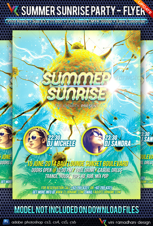 GraphicRiver Summer Sunrise Party Flyer 4659301