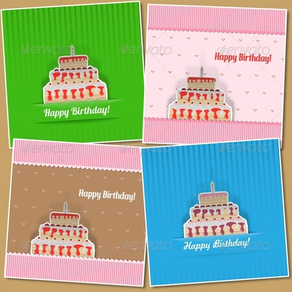 GraphicRiver Set of Four Birthday Cards 4733358