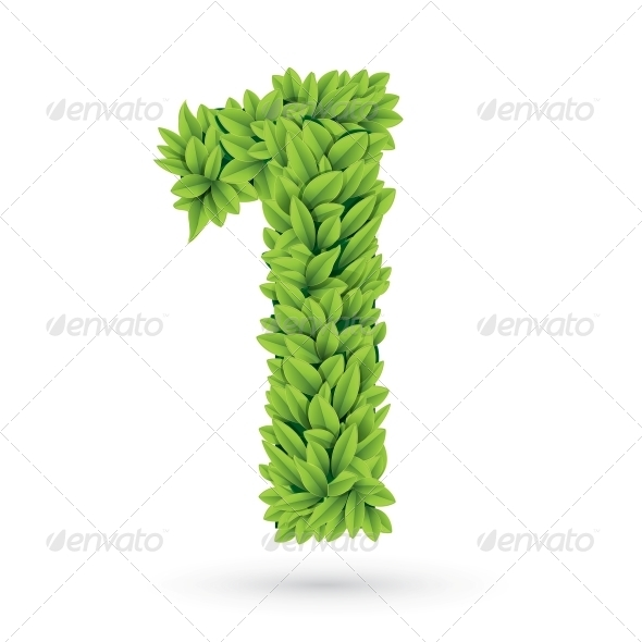 GraphicRiver Number of Green Leaves with Shadow 4734034