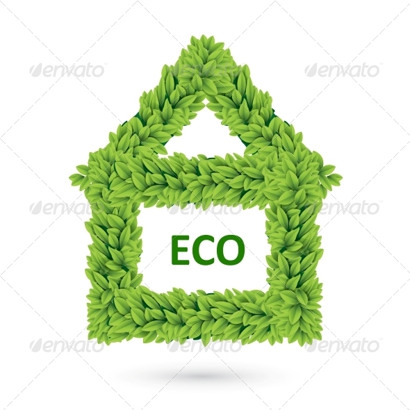 GraphicRiver Ecology Home Icon of Green Leaves 4734114