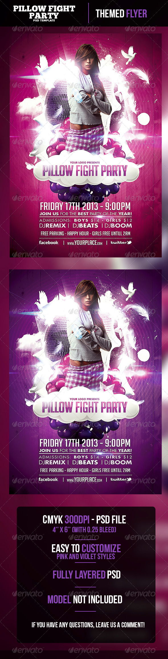 Pillow Fight Party Flyer Template - Clubs & Parties Events