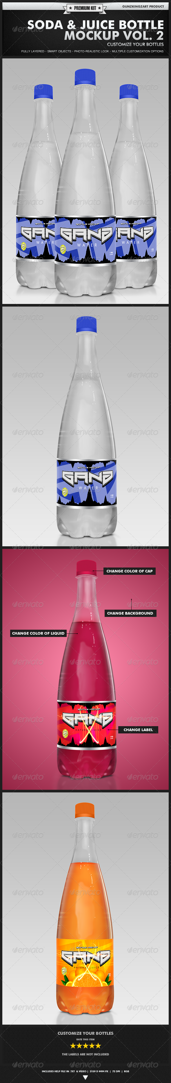 Soda & Juice Bottle Mockup Vol. 2 - Premium Kit - Food and Drink Packaging