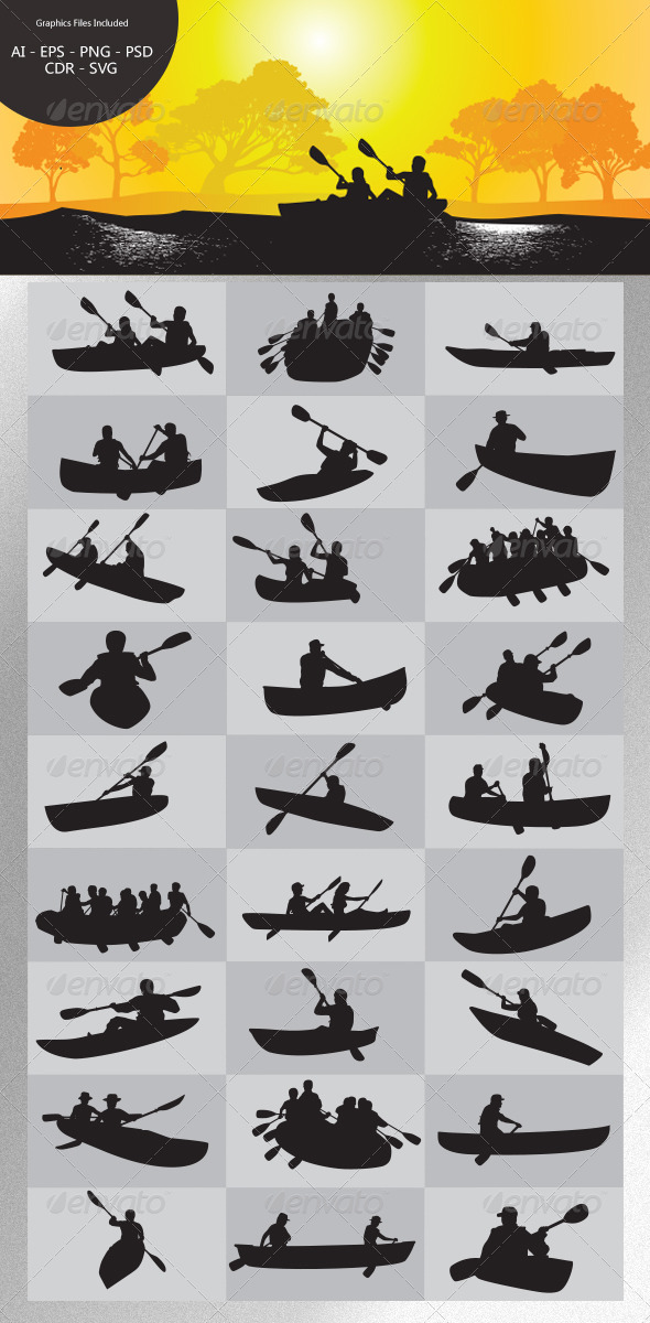 GraphicRiver Paddling Silhouettes 4734282