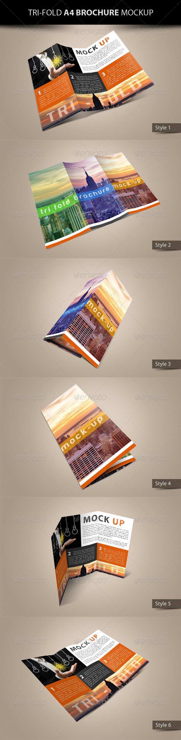 GraphicRiver Tri-Fold A4 Brochure Mock-Up 4664913