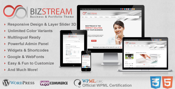 Bizstream - Creative HTML5/CSS3 WordPress Theme - Corporate WordPress