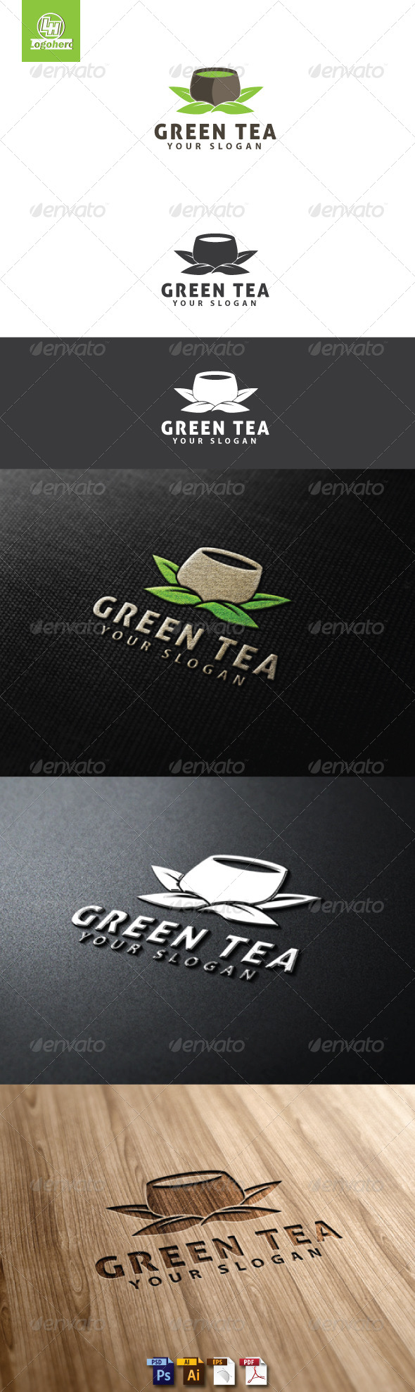 GraphicRiver Green Tea Logo Template 4734601