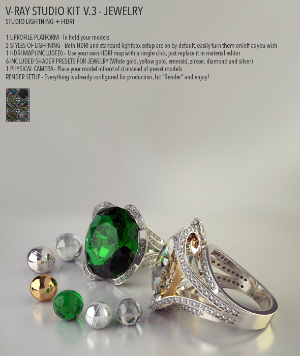 Vray Studio Setup v.3 - Jewelry - 3DOcean Item for Sale