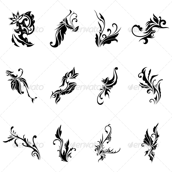 GraphicRiver Abstract Tribal Decorative Flowers Vector Pack 4734987