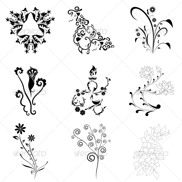 GraphicRiver Decorative Floral Elements Vector Pack 4735041