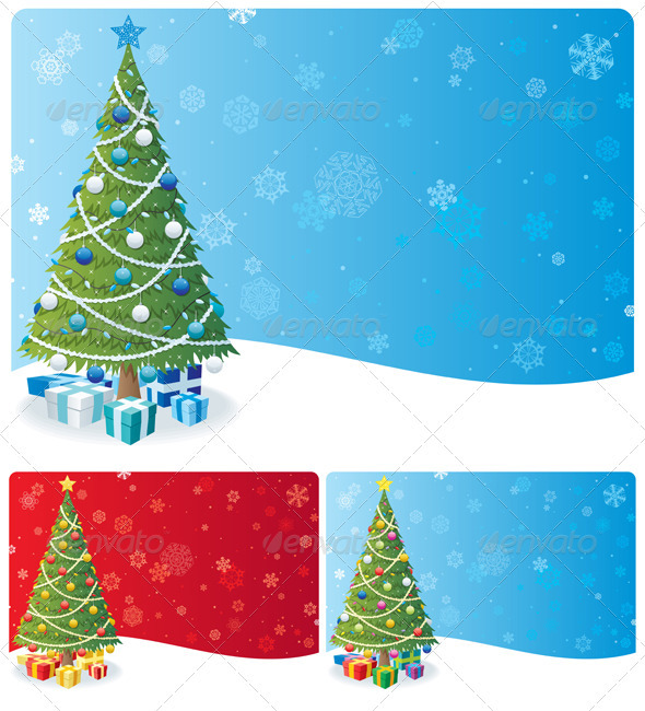 Christmas Tree Background Set - Christmas Seasons/Holidays
