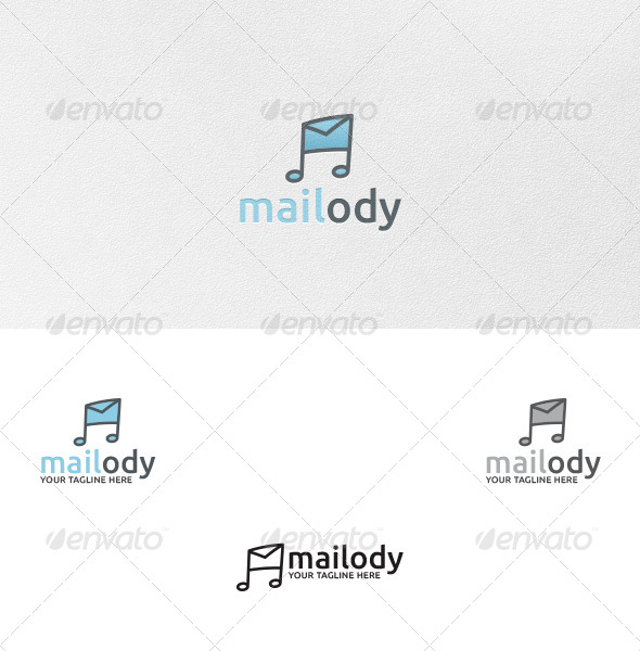 Mailody Melody Mail Logo Template