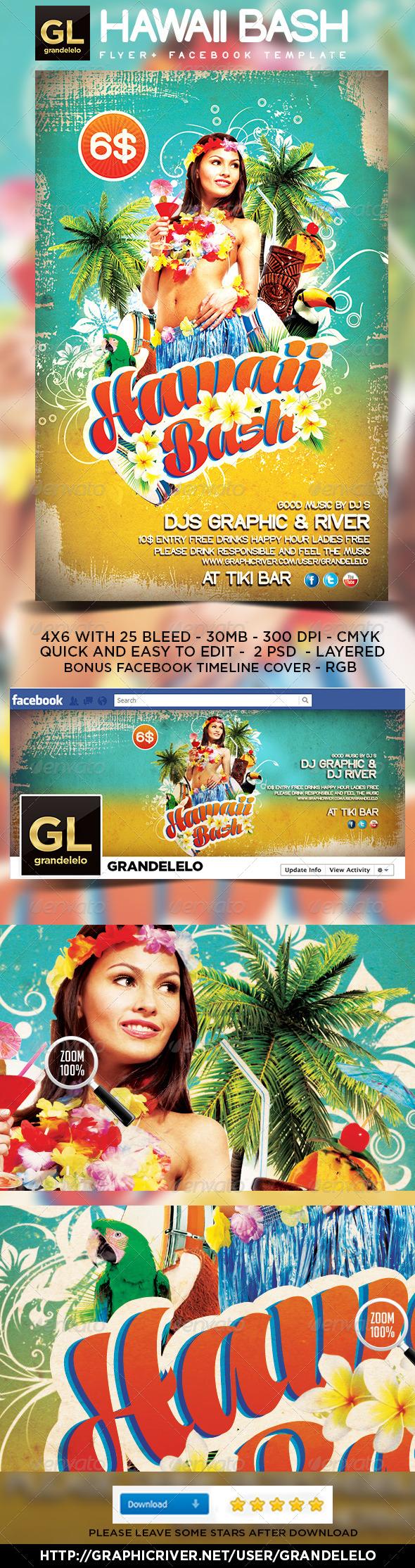 GraphicRiver Hawaii Flyer & Facebook Temeplate 4735710