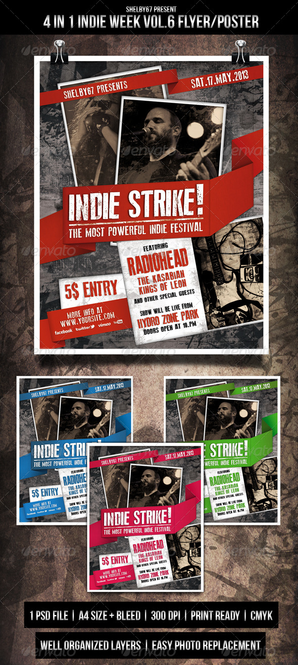 GraphicRiver Indie Week Flyer Poster Vol.6 4 in 1 4735785