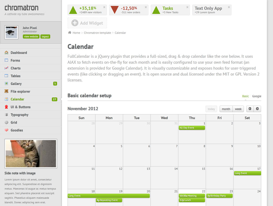 Chromatron HTML5 Admin Backend - Chromatron calendar