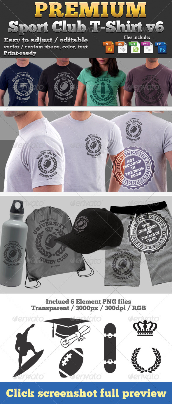 Premium Sport Club T-Shirt V6 Template