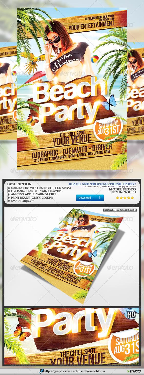 GraphicRiver Beach Party Flyer 4659907