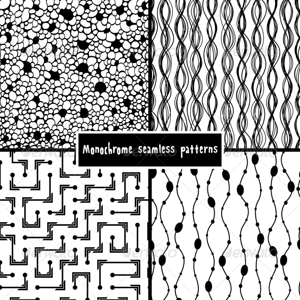 Set of Four Monochrome Geometrical Patterns