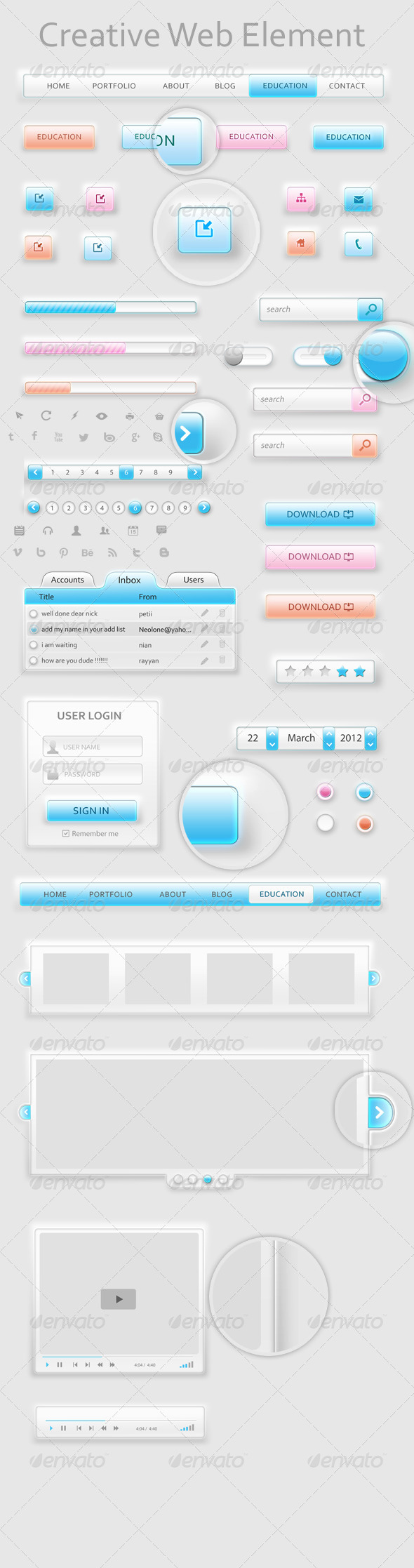 GraphicRiver Creative Soft Web Element 4727887
