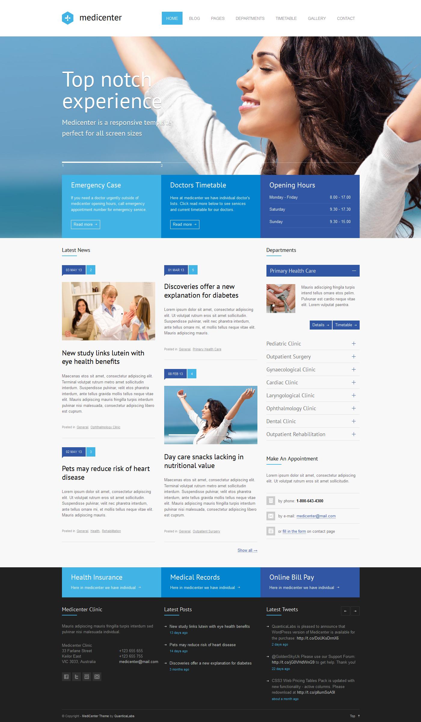 Health WordPress Themes MediCenter - Responsive Medical WordPress Theme by ...