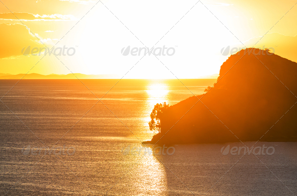 Sunset on Titicaca - Stock Photo - Images