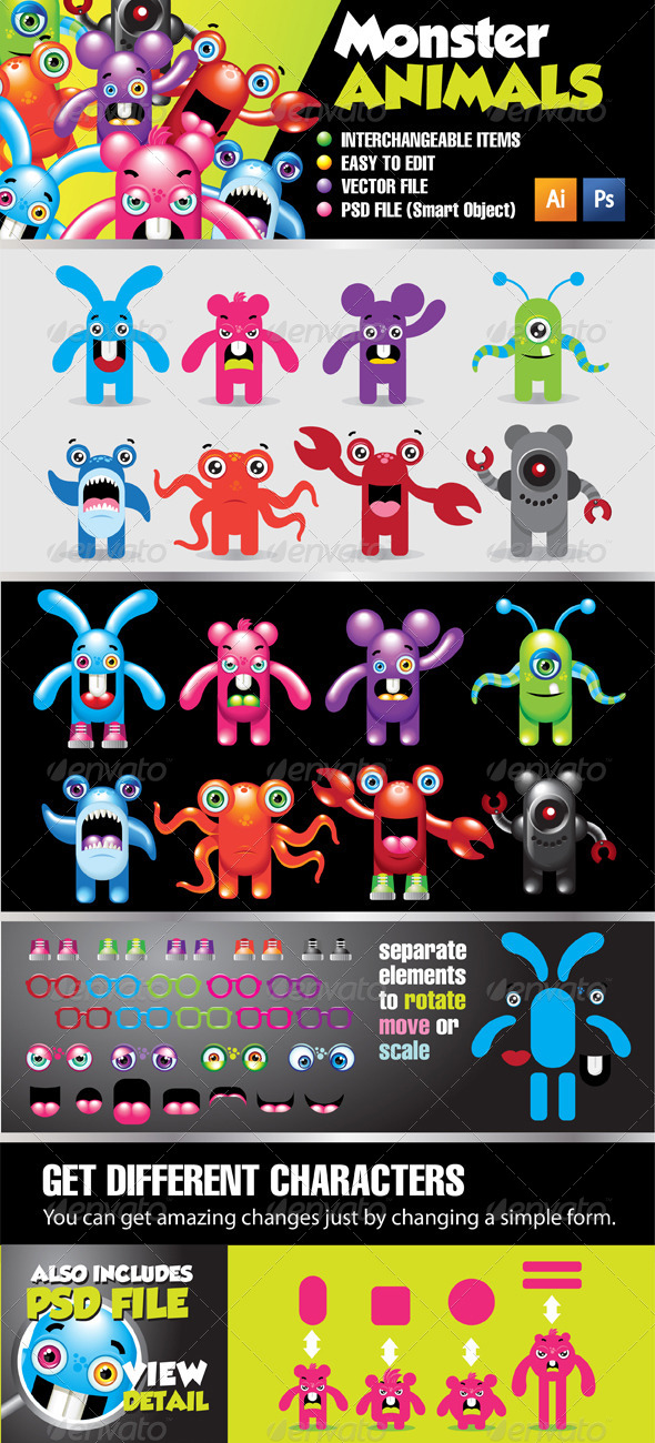 Monster Animals Kit  - Characters Vectors